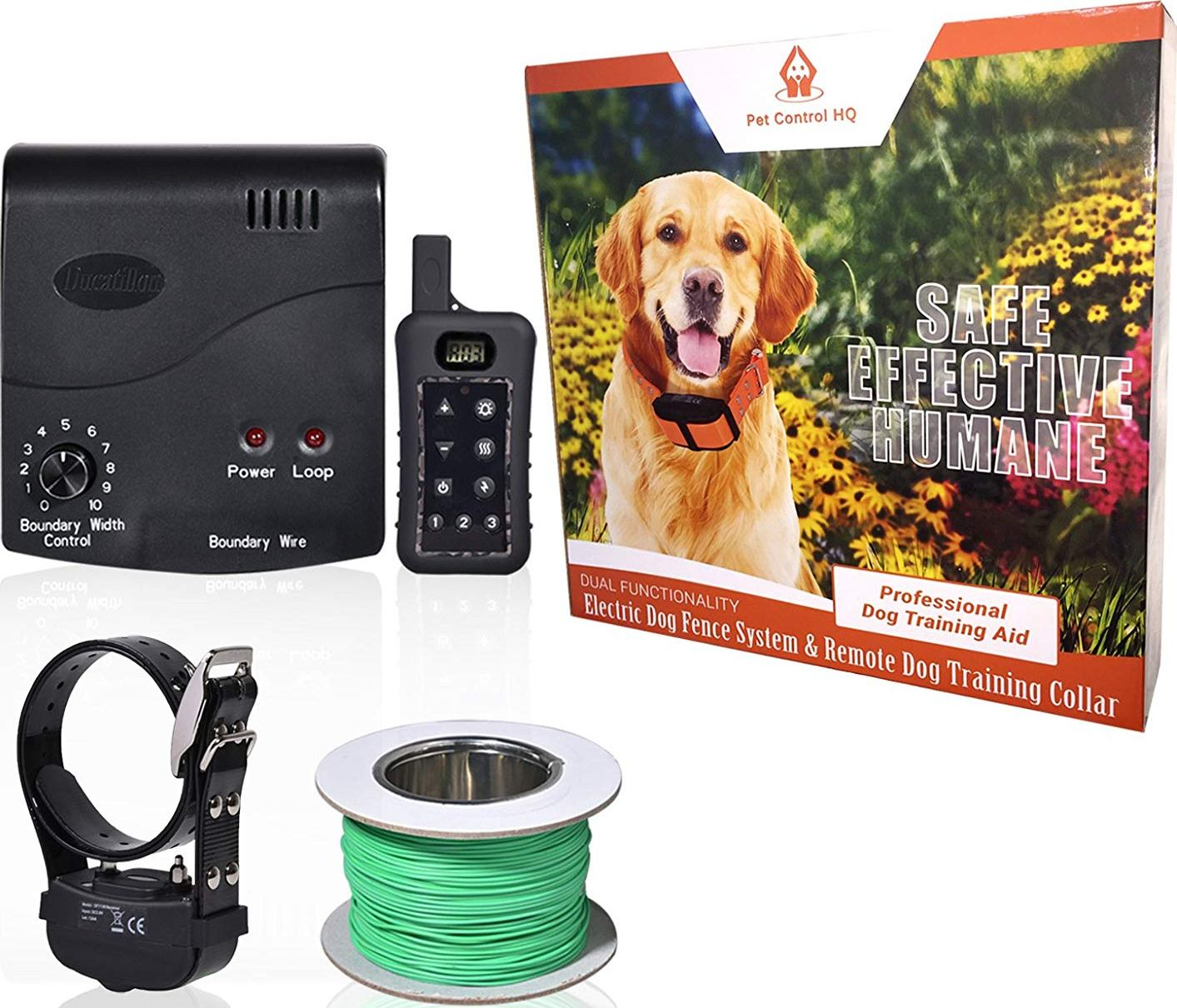 Combo Electric Dog Fence System with Wireless Remote Dog Training Collar by Pet Control HQ