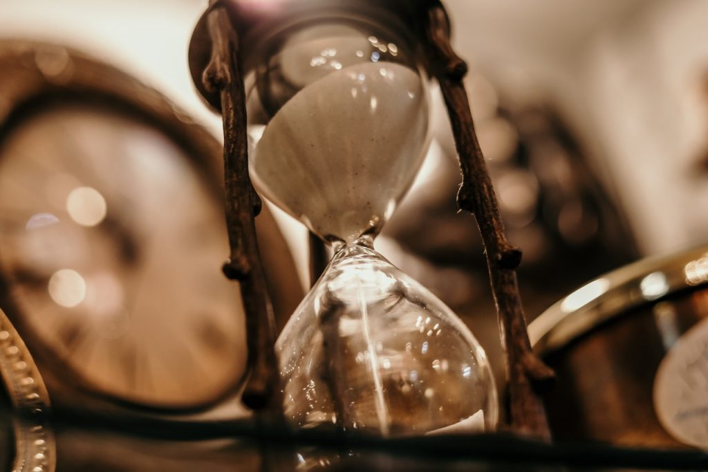 antique hourglass sepia